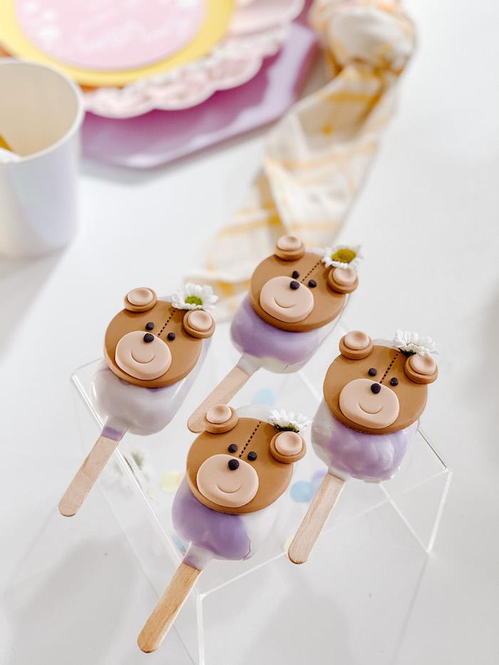 Teddy Bear Cakesicles from a Teddy Bear Picnic Party on Kara's Party Ideas | KarasPartyIdeas.com
