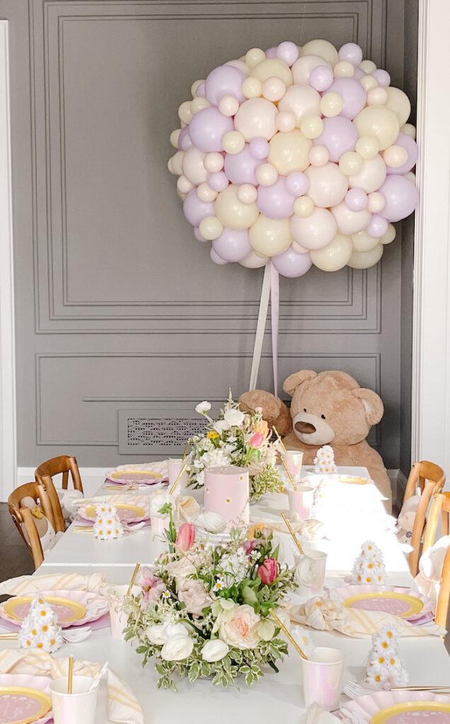 Teddy Bear Picnic Table + Balloon Install from a Teddy Bear Picnic Party on Kara's Party Ideas | KarasPartyIdeas.com