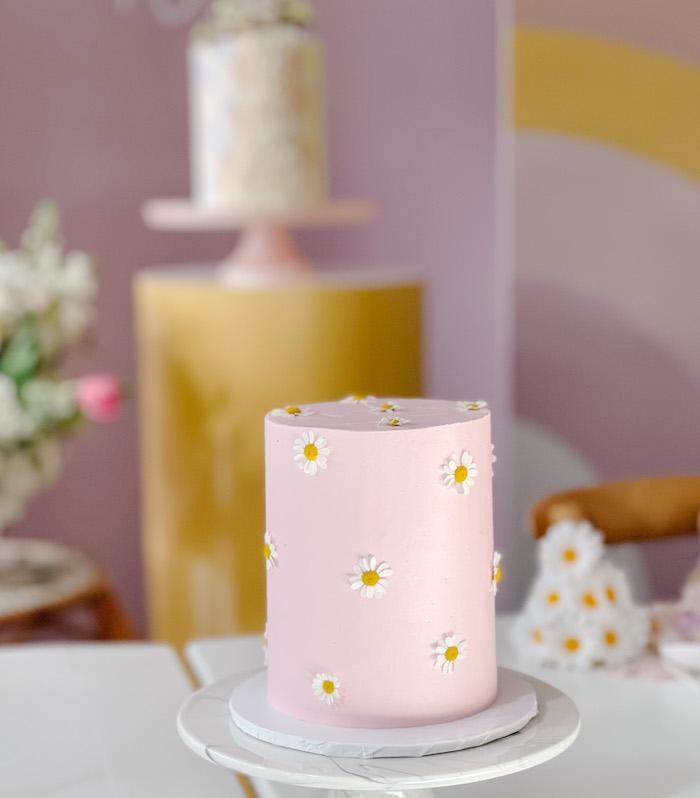 Pink Daisy Cake from a Teddy Bear Picnic Party on Kara's Party Ideas | KarasPartyIdeas.com