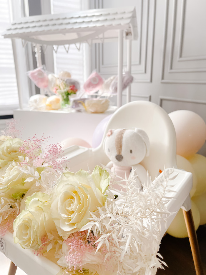 Flower-topped Highchair from a TTeddy Bear Picnic Party on Kara's Party Ideas | KarasPartyIdeas.com