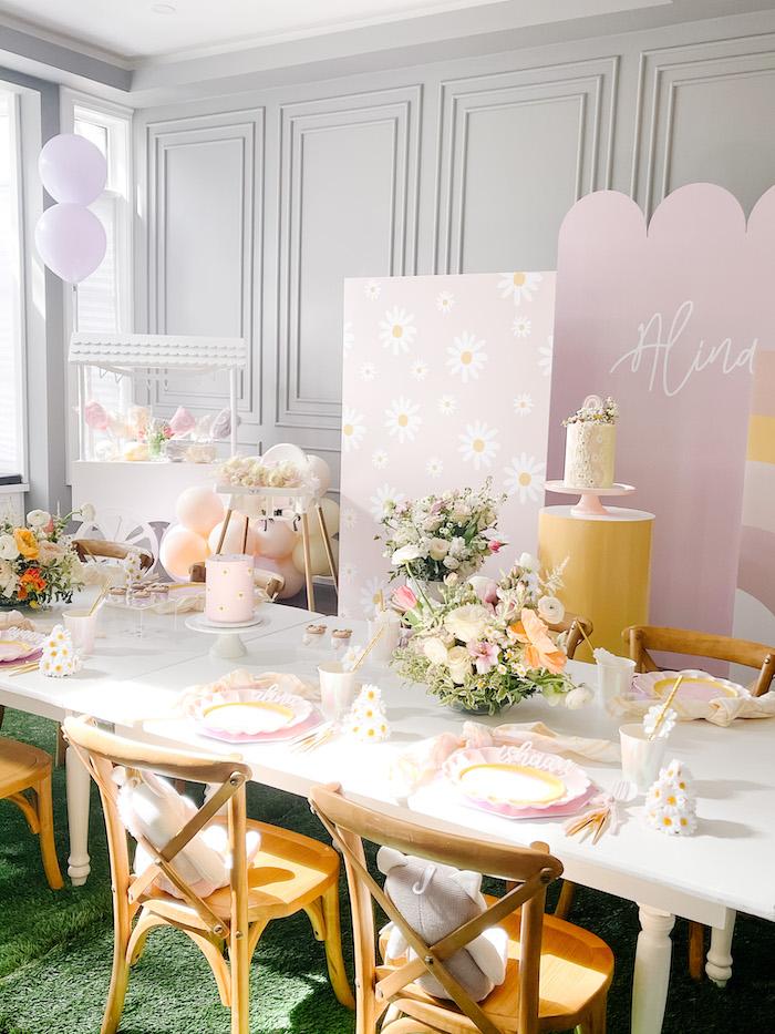 Floral Guest Table from a Teddy Bear Picnic Party on Kara's Party Ideas | KarasPartyIdeas.com