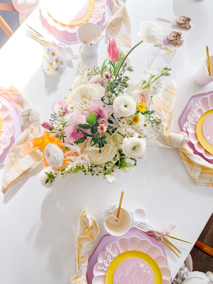 Guest Table Florals + Tabletop from a Teddy Bear Picnic Party on Kara's Party Ideas | KarasPartyIdeas.com