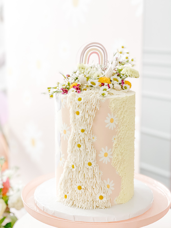 Daisy-inspired Birthday Cake from a Teddy Bear Picnic Party on Kara's Party Ideas | KarasPartyIdeas.com