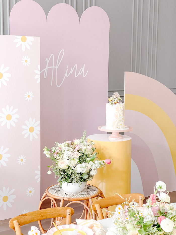 Daisy-inspired Cake Pedestal + Backdrop from a Teddy Bear Picnic Party on Kara's Party Ideas | KarasPartyIdeas.com