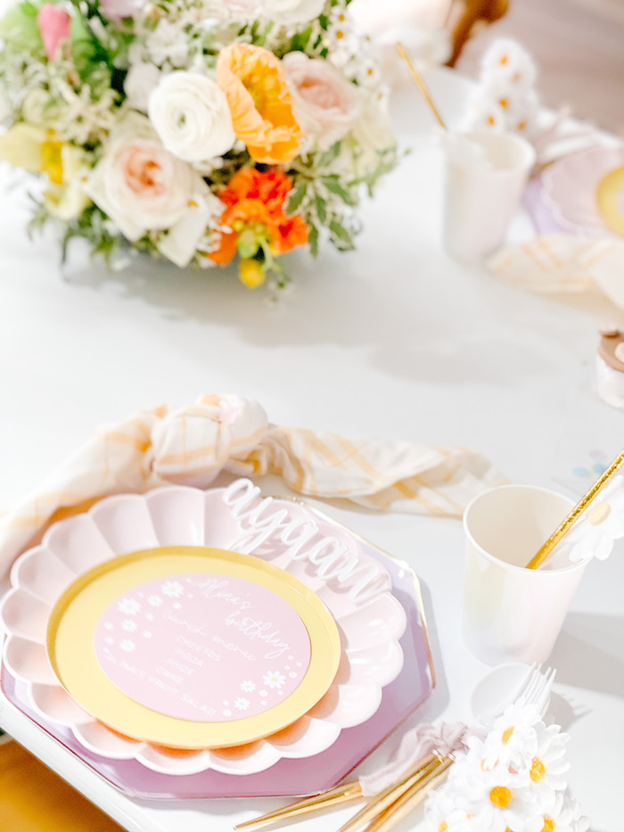 Scallop Plate Table Setting accented with Florals from a Teddy Bear Picnic Party on Kara's Party Ideas | KarasPartyIdeas.com