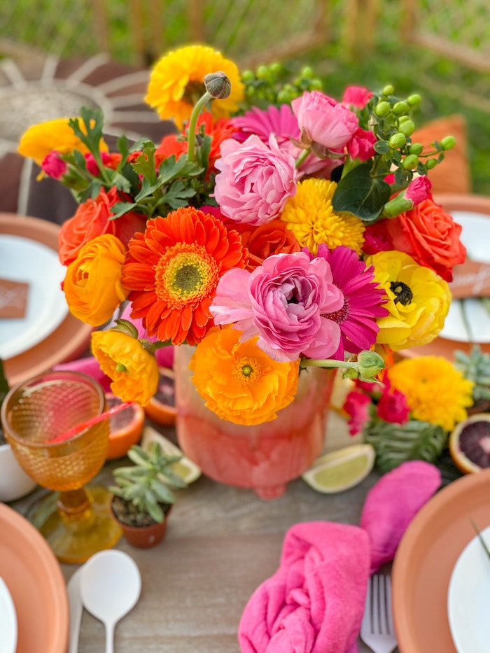 Fiesta Floral Table Centerpiece from a Tropical Palm Springs Fiesta on Kara's Party Ideas | KarasPartyIdeas.com
