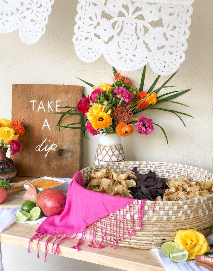 Shawl-draped Chip Basket from a Tropical Palm Springs Fiesta on Kara's Party Ideas | KarasPartyIdeas.com
