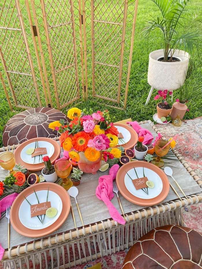 Fiesta Dining Table from a Tropical Palm Springs Fiesta on Kara's Party Ideas | KarasPartyIdeas.com