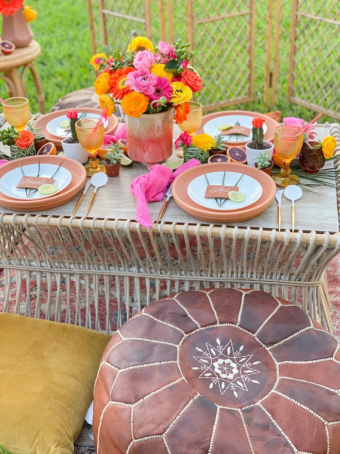 Tropical Fiesta Guest Table with Leather Pouf Chair from a Tropical Palm Springs Fiesta on Kara's Party Ideas | KarasPartyIdeas.com