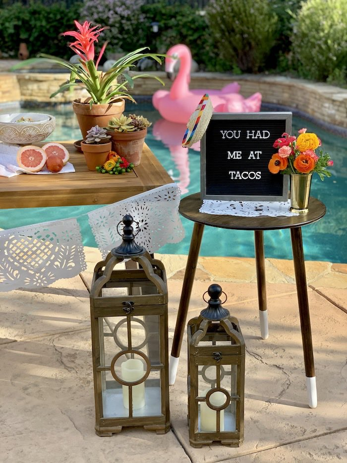 Letter Board Side Table from a Tropical Palm Springs Fiesta on Kara's Party Ideas | KarasPartyIdeas.com