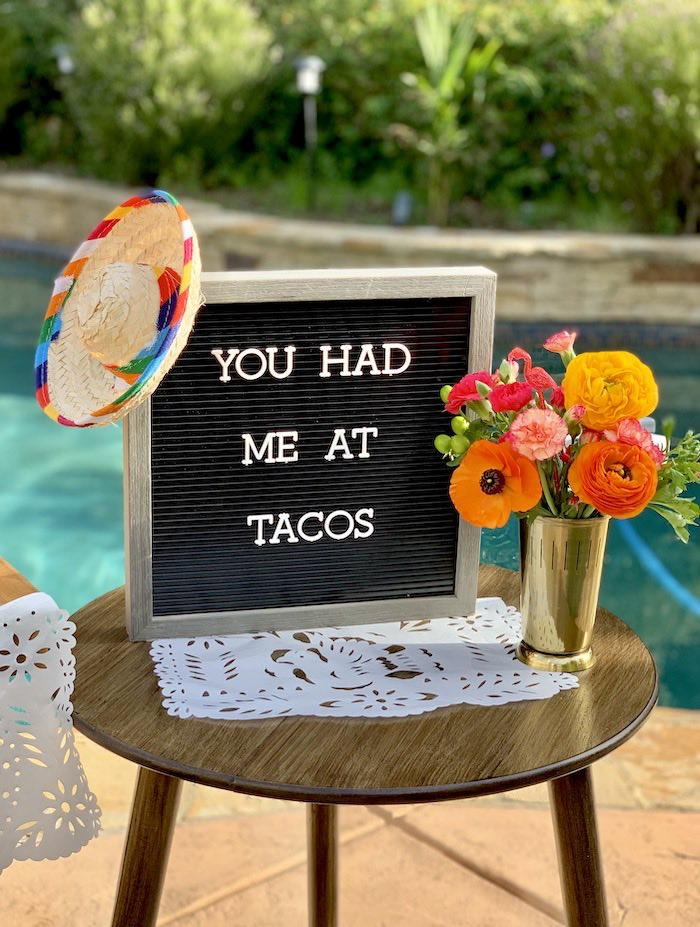 You Had Me At Tacos Letter Board from a Tropical Palm Springs Fiesta on Kara's Party Ideas | KarasPartyIdeas.com