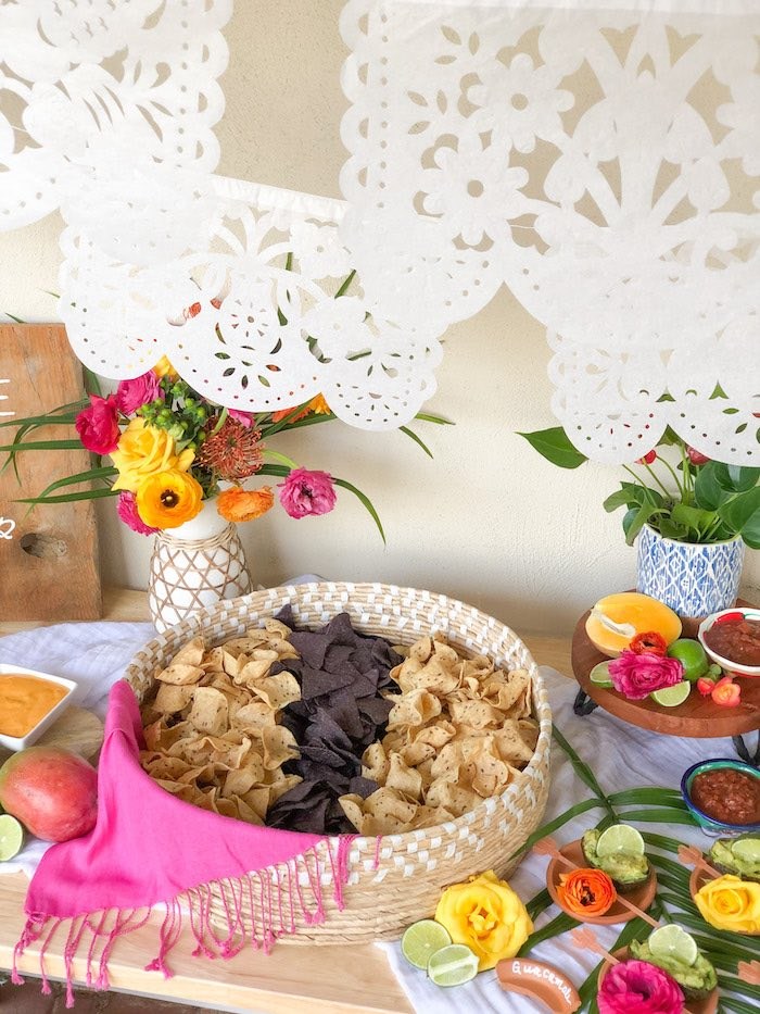 Papel flags with chip bar from a Tropical Palm Springs Fiesta on Kara's Party Ideas | KarasPartyIdeas.com