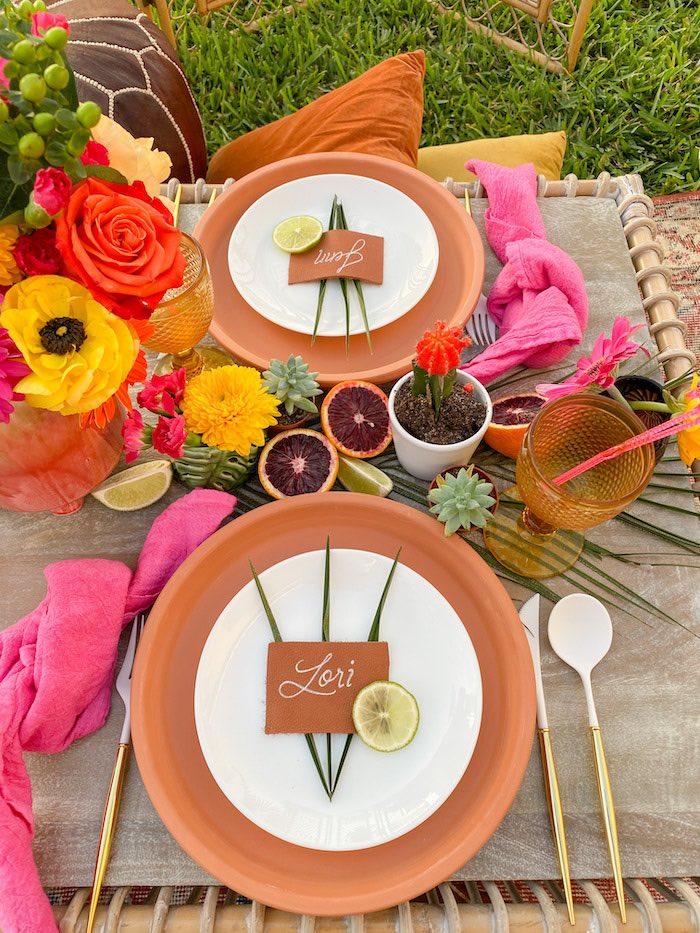Terra Cotta Pot Base Table Settings from a Tropical Palm Springs Fiesta on Kara's Party Ideas | KarasPartyIdeas.com