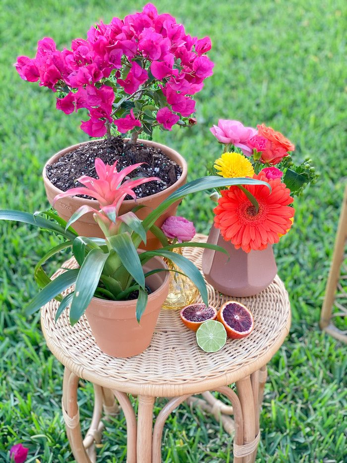 Side Table Flowers from a Tropical Palm Springs Fiesta on Kara's Party Ideas | KarasPartyIdeas.com