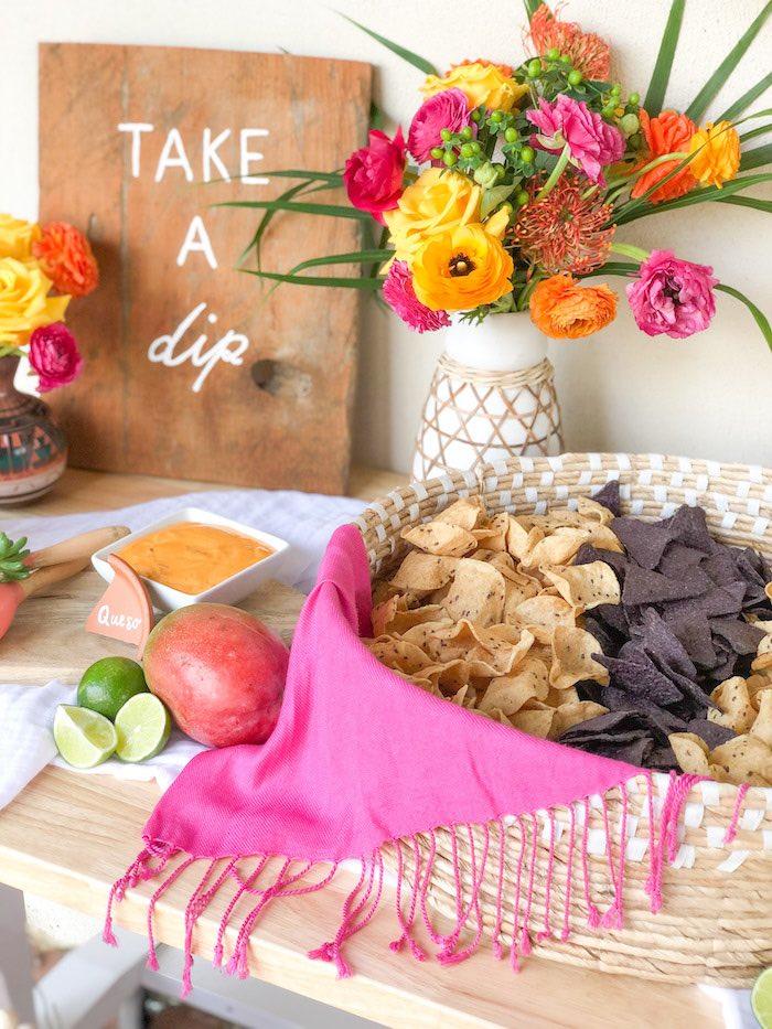 Shawled Chip Basket from a Tropical Palm Springs Fiesta on Kara's Party Ideas | KarasPartyIdeas.com