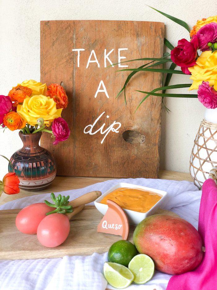 Take a dip wood sign from a Tropical Palm Springs Fiesta on Kara's Party Ideas | KarasPartyIdeas.com