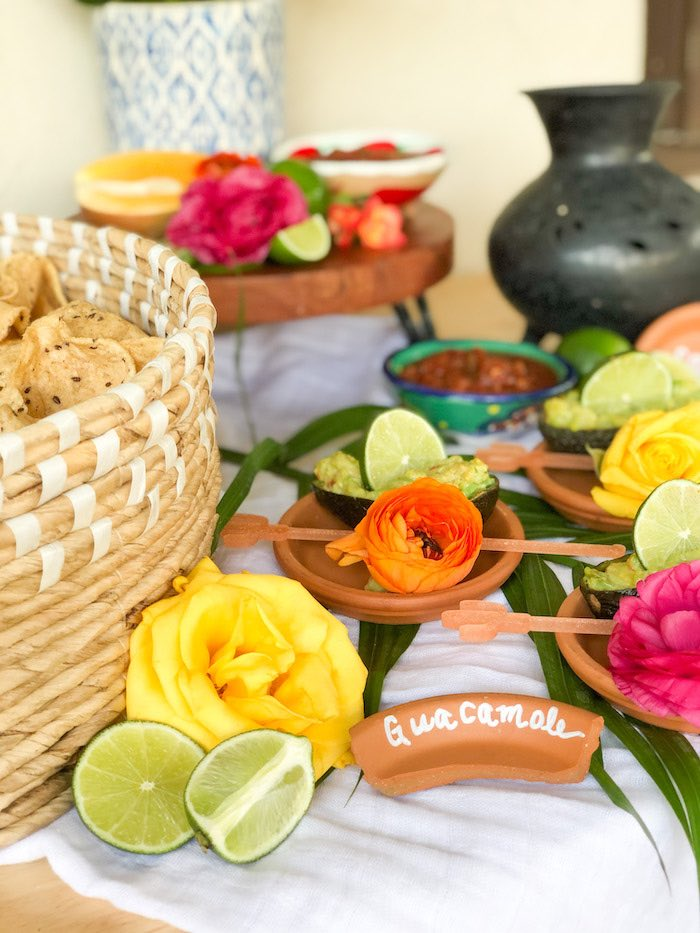 Terra cotta guacamole name plate from a Tropical Palm Springs Fiesta on Kara's Party Ideas | KarasPartyIdeas.com