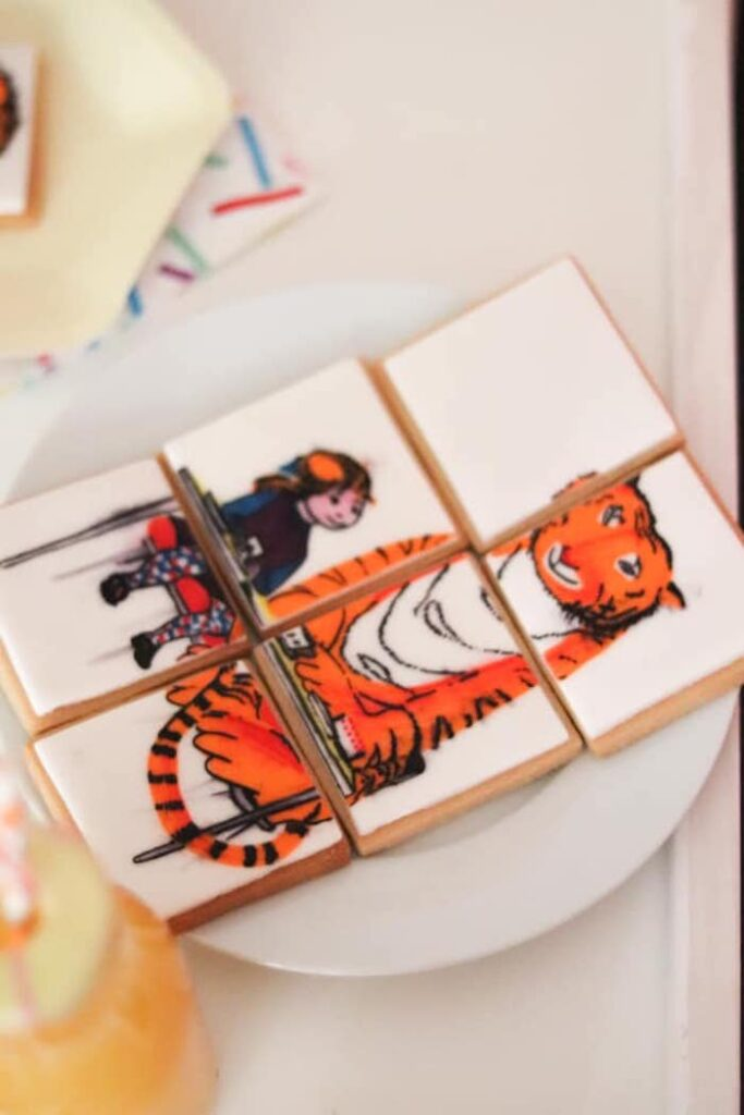 """""""When A Tiger Came to Tea"""" Scene Cookies from a """"When A Tiger Came to Tea"""" Birthday Party on Kara's Party Ideas 