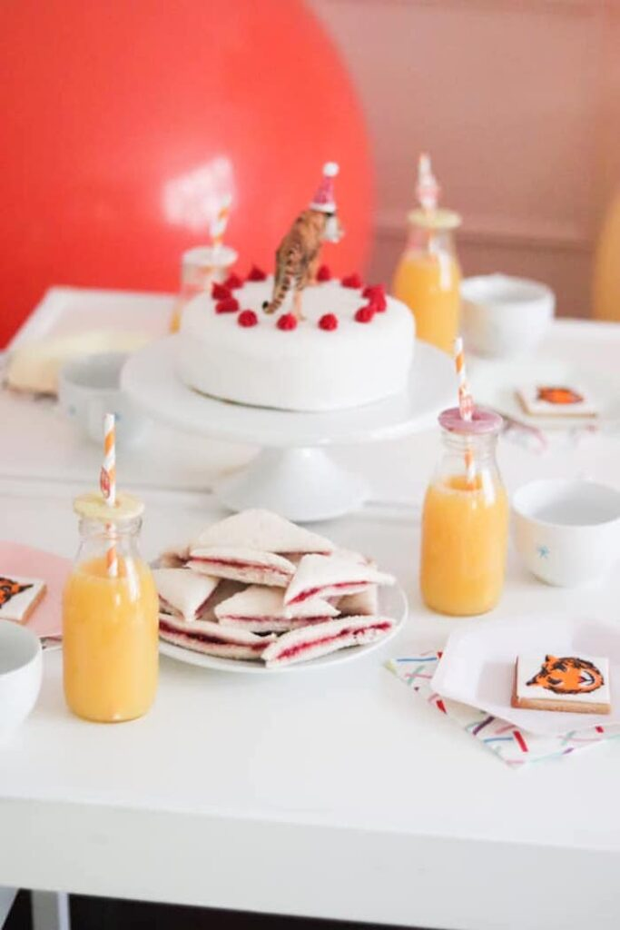 """Tiger-inspired Party Table from a """"When A Tiger Came to Tea"""" Birthday Party on Kara's Party Ideas 