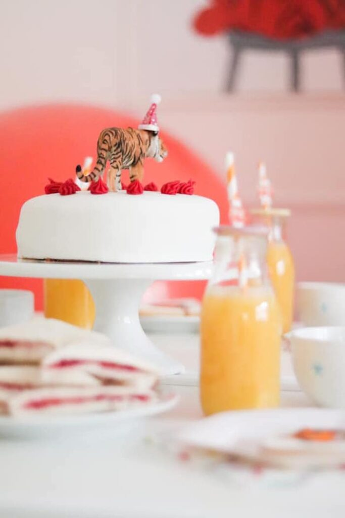 """Tiger-topped Cake from a """"When A Tiger Came to Tea"""" Birthday Party on Kara's Party Ideas 