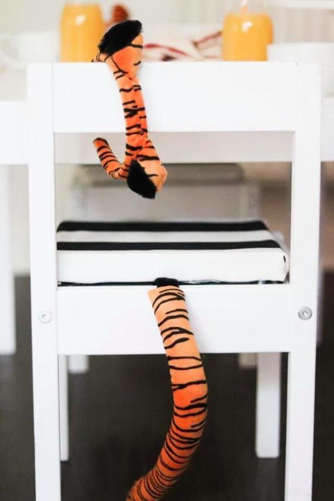 """Tiger-tail adorned Chair from a """"When A Tiger Came to Tea"""" Birthday Party on Kara's Party Ideas 