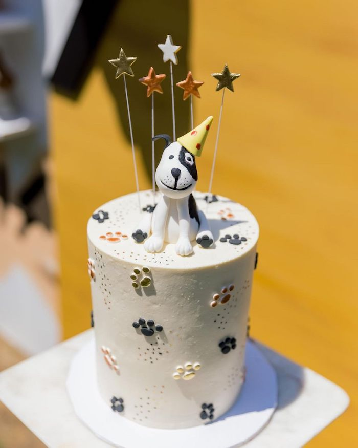Dog Themed Cake from an Abstract Puppy Pawty on Kara's Party Ideas | KarasPartyIdeas.com