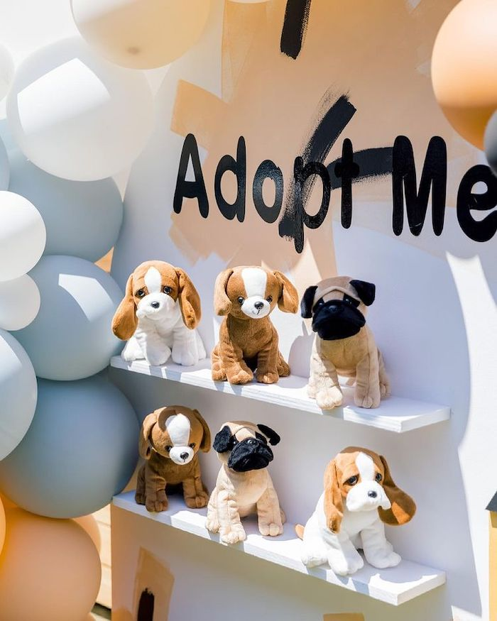 Puppy Adoption Backdrop from an Abstract Puppy Pawty on Kara's Party Ideas | KarasPartyIdeas.com