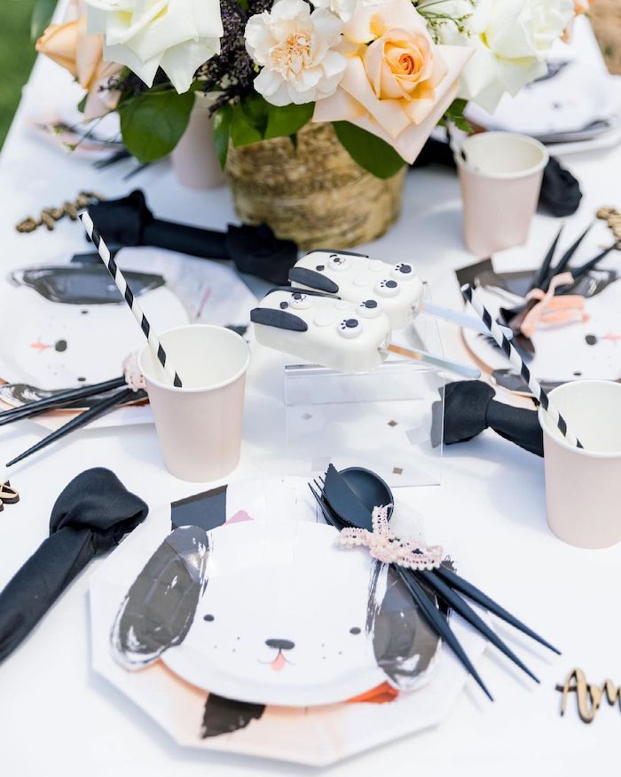 Puppy Table Setting from an Abstract Puppy Pawty on Kara's Party Ideas | KarasPartyIdeas.com