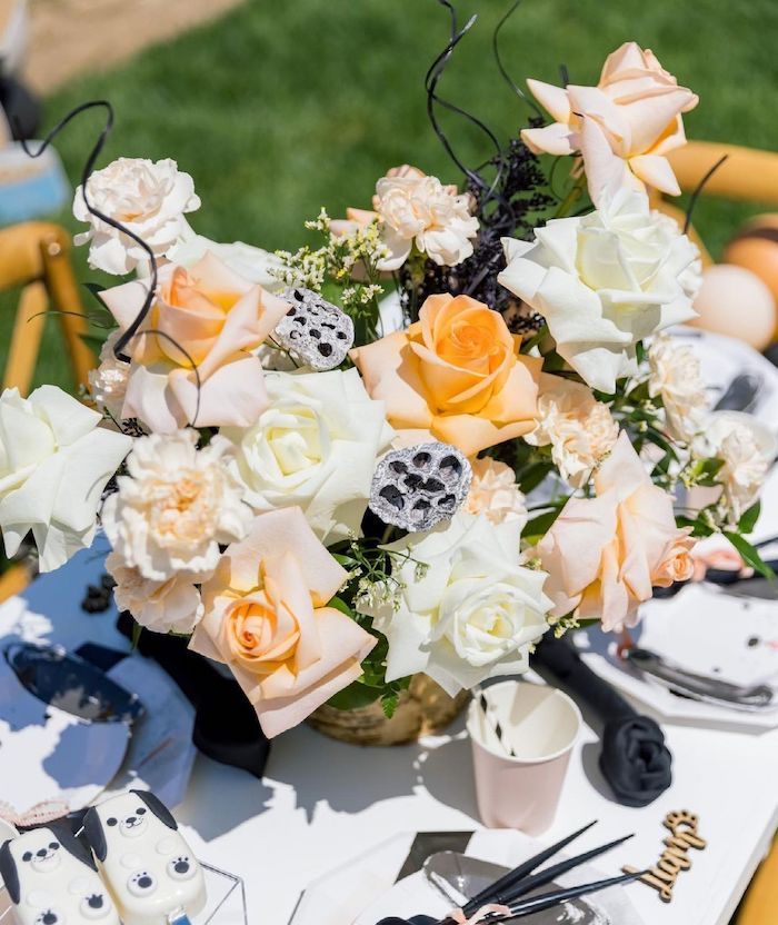Floral Centerpiece from an Abstract Puppy Pawty on Kara's Party Ideas | KarasPartyIdeas.com