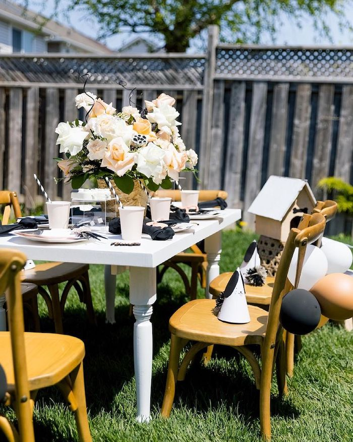 Dog Themed Guest Table from an Abstract Puppy Pawty on Kara's Party Ideas | KarasPartyIdeas.com
