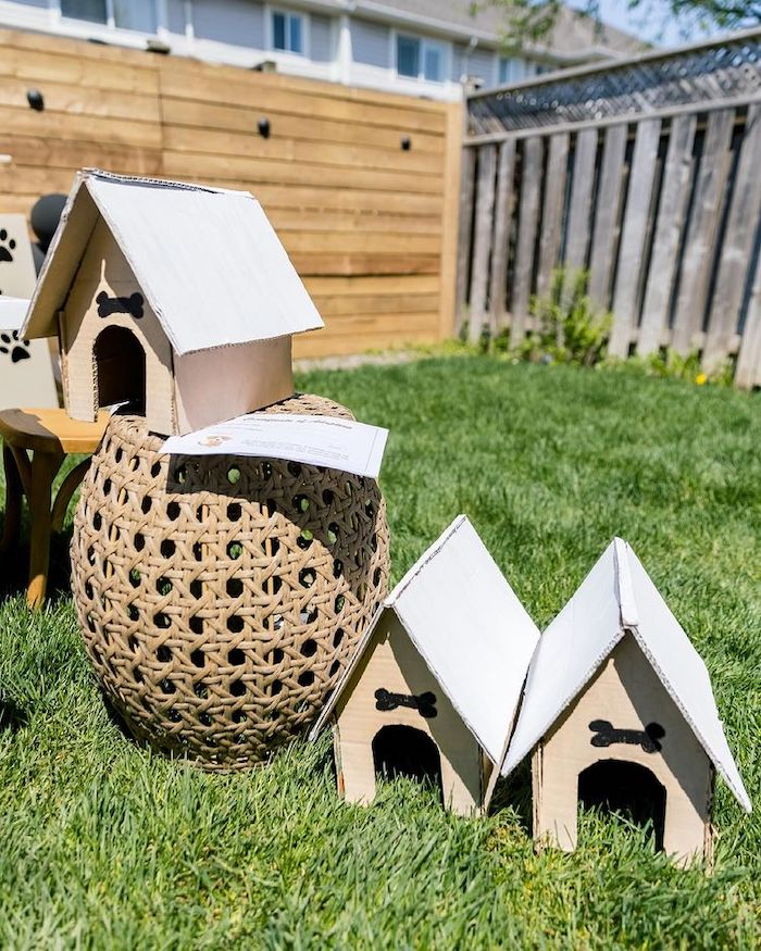 Dog Houses from an Abstract Puppy Pawty on Kara's Party Ideas | KarasPartyIdeas.com