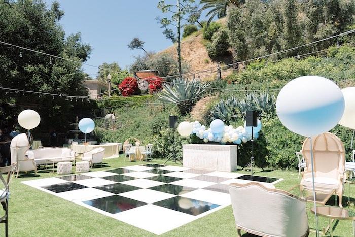 Checkerboard Floor from a Baby Backyard Garden Sip and See on Kara's Party Ideas | KarasPartyIdeas.com