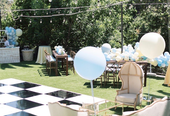 Backyard Partyscape from a Baby Backyard Garden Sip and See on Kara's Party Ideas | KarasPartyIdeas.com