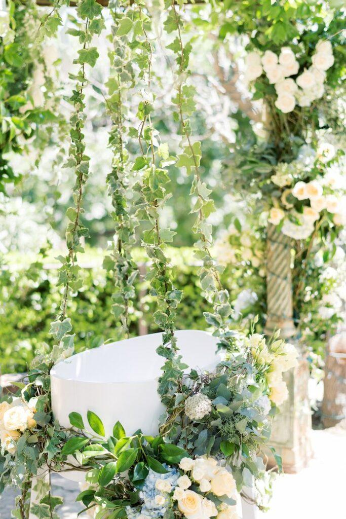 Garden Swing from a Baby Backyard Garden Sip and See on Kara's Party Ideas | KarasPartyIdeas.com