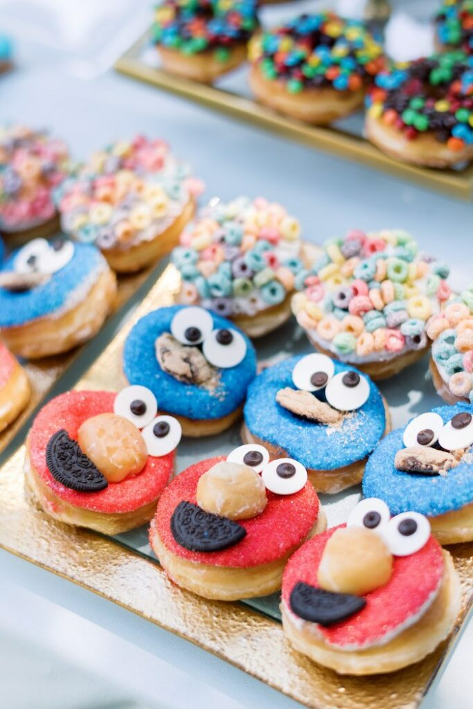 Sesame Street Donuts from a Baby Backyard Garden Sip and See on Kara's Party Ideas | KarasPartyIdeas.com