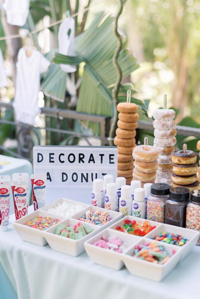 Donut Decorating Bar from a Baby Backyard Garden Sip and See on Kara's Party Ideas | KarasPartyIdeas.com