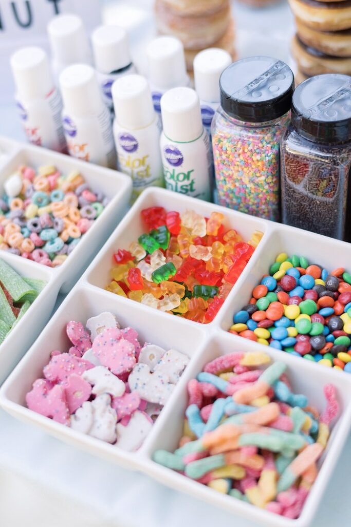 Dishes of Candy + Sprinkles from a Baby Backyard Garden Sip and See on Kara's Party Ideas | KarasPartyIdeas.com