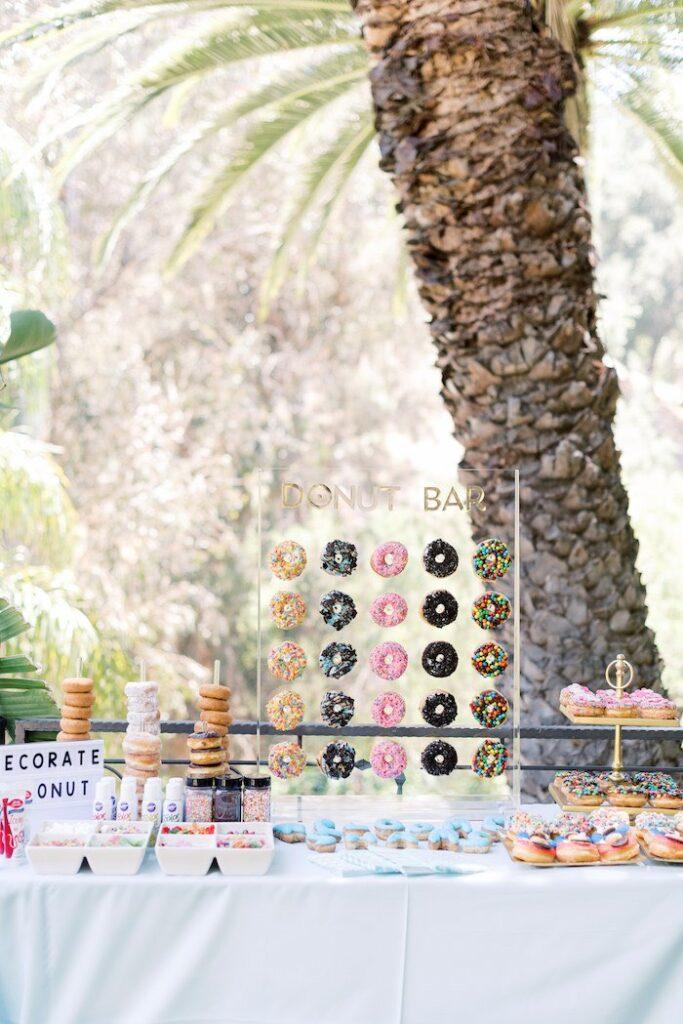 Donut Bar from a Baby Backyard Garden Sip and See on Kara's Party Ideas | KarasPartyIdeas.com