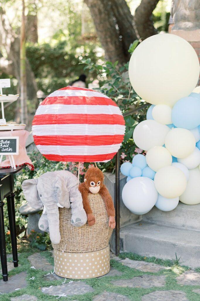Paper Lantern Hot Air Balloon from a Baby Backyard Garden Sip and See on Kara's Party Ideas | KarasPartyIdeas.com