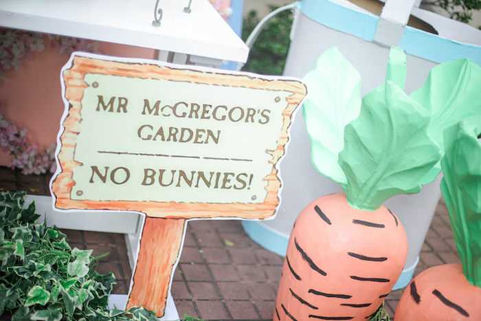 Mr. McGregor's Garden Sign from a Beatrix Potter Farmers' Market Drive-by Party on Kara's Party Ideas | KarasPartyIdeas.com