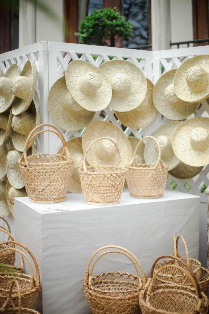 Garden Baskets & Hats from a Beatrix Potter Farmers' Market Drive-by Party on Kara's Party Ideas | KarasPartyIdeas.com