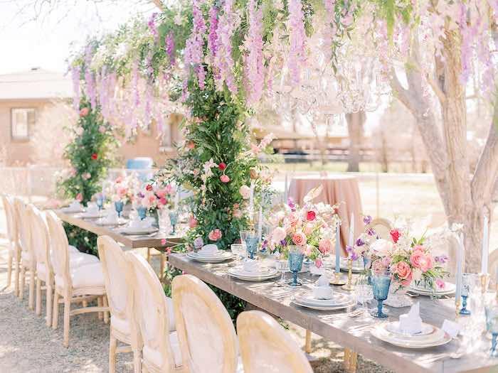 Bridgerton Inspired Guest Table from a Bridgerton Inspired Baby Shower on Kara's Party Ideas | KarasPartyIdeas.com
