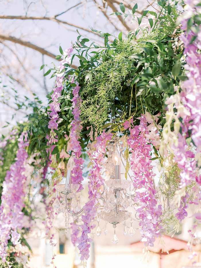 Cascading Florals from a Bridgerton Inspired Baby Shower on Kara's Party Ideas | KarasPartyIdeas.com