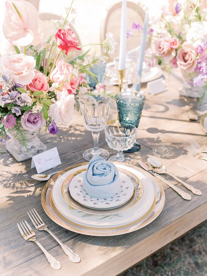 Elegant Table Setting from a Bridgerton Inspired Baby Shower on Kara's Party Ideas | KarasPartyIdeas.com