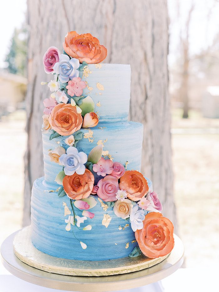 Blue + Orange Floral Cake from a Bridgerton Inspired Baby Shower on Kara's Party Ideas | KarasPartyIdeas.com