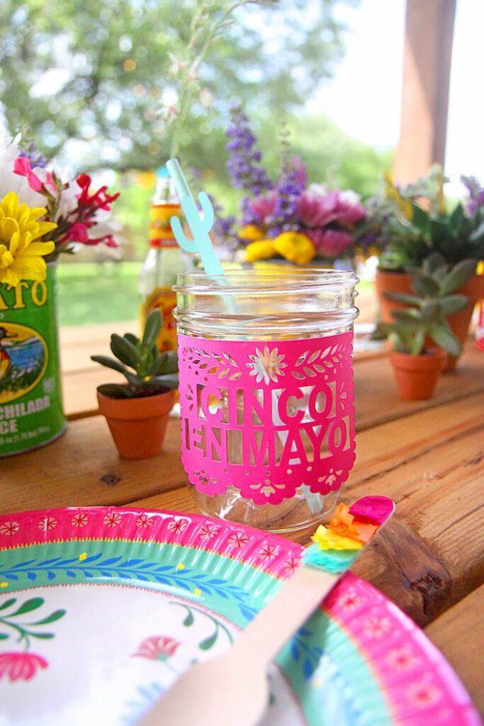 "Papel Picado Labeled Drink Mason Jar from a Cinco ""en"" Mayo 5th Birthday Fiesta on Kara's Party Ideas   KarasPartyIdeas.com"