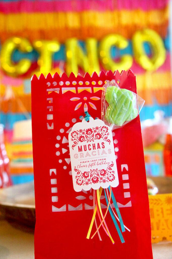 "Fiesta Favor Sack from a Cinco ""en"" Mayo 5th Birthday Fiesta on Kara's Party Ideas   KarasPartyIdeas.com"