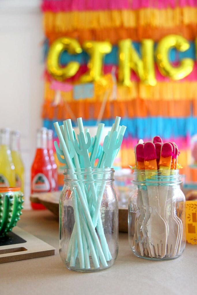 "Cactus Straws + Fiesta Forks from a Cinco ""en"" Mayo 5th Birthday Fiesta on Kara's Party Ideas   KarasPartyIdeas.com"