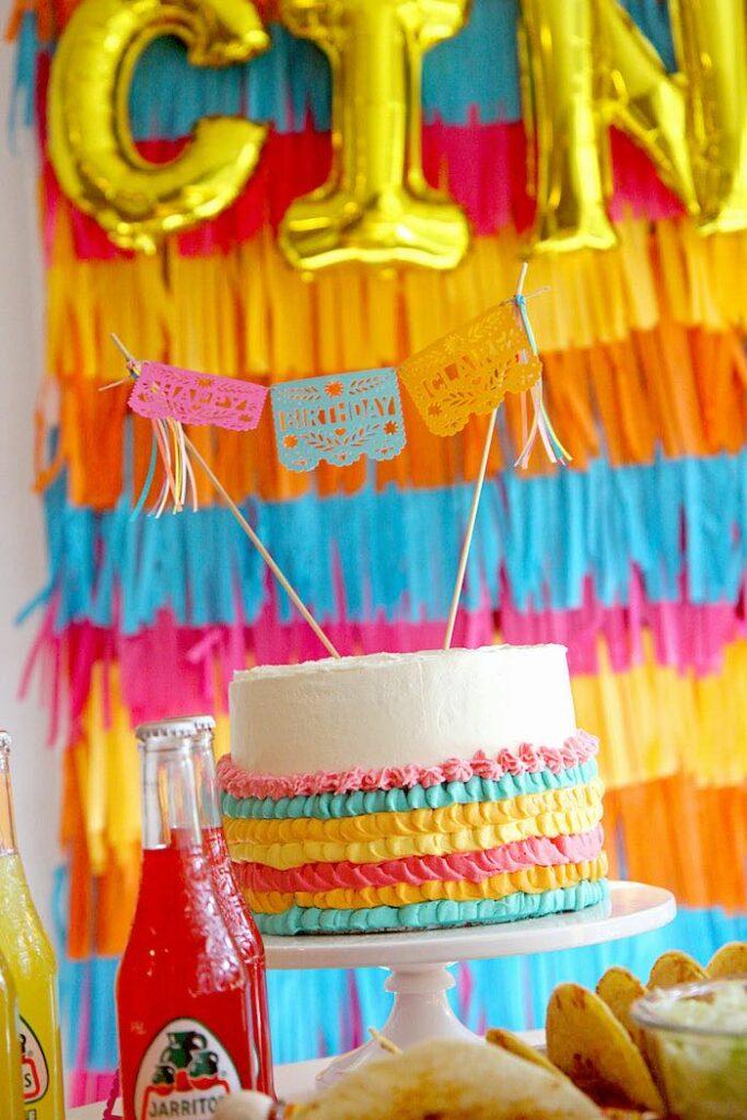 "Fiesta Cake from a Cinco ""en"" Mayo 5th Birthday Fiesta on Kara's Party Ideas   KarasPartyIdeas.com"
