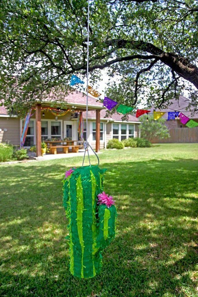 "Cactus Pinata from a Cinco ""en"" Mayo 5th Birthday Fiesta on Kara's Party Ideas   KarasPartyIdeas.com"